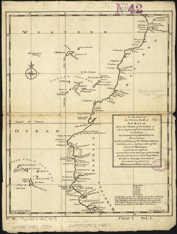 A chart of the western coast of Africa, from the Straits of Gibraltar to eleven degrees of north latitude