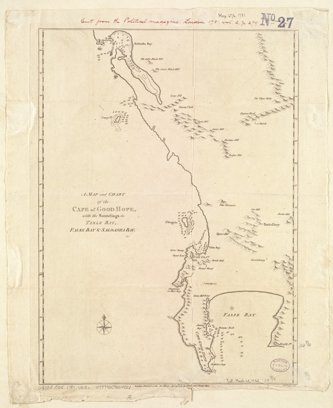 A Map and chart of the Cape of Good Hope, with the soundings in Table Bay, False Bay and Saldanha Bay