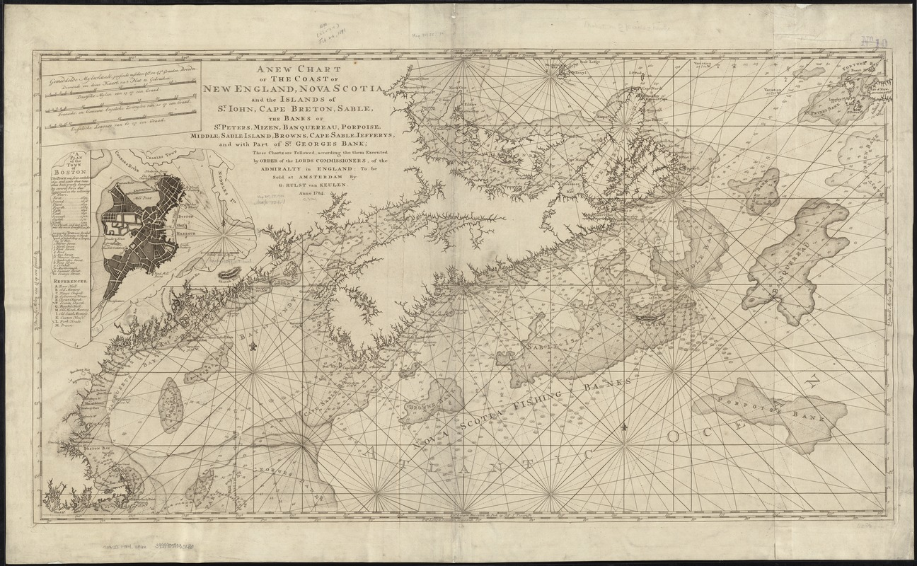 A new chart of the coast of New England, Nova Scotia, and the islands of St. Iohn, Cape Breton, Sable, the banks of St. Peters, Mizen, Banquereau, Porpoise, Middle, Sable Island, Browns, Cape Sable, Iefferys, and with part of St. Georges Bank