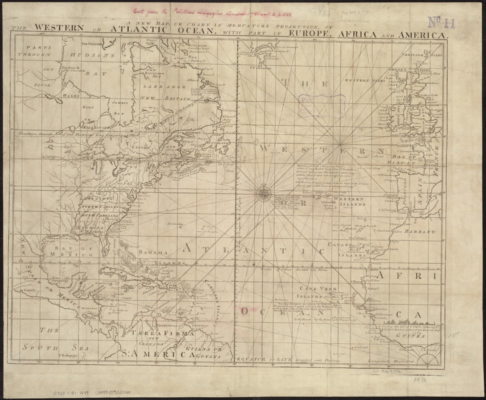 A new map or chart in Mercators projection, of the Western or Atlantic Ocean, with part of Europe, Africa and America