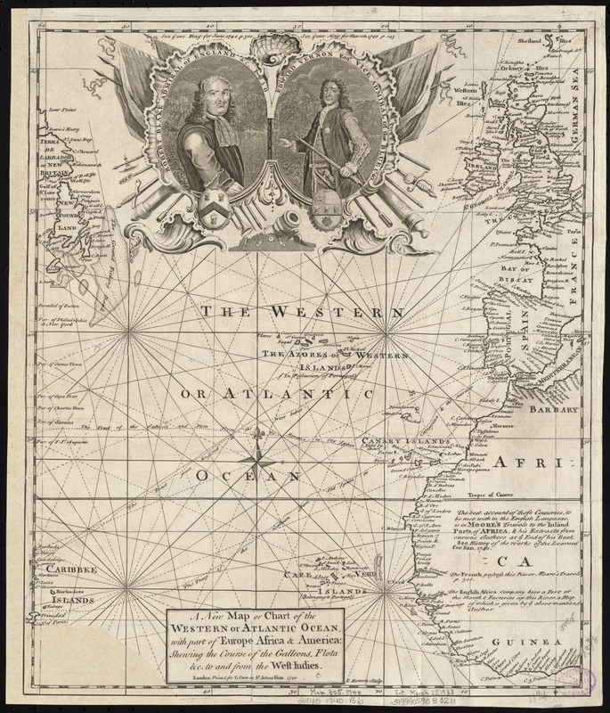A new map or chart of the Western or Atlantic Ocean, with part of Europe Africa & America