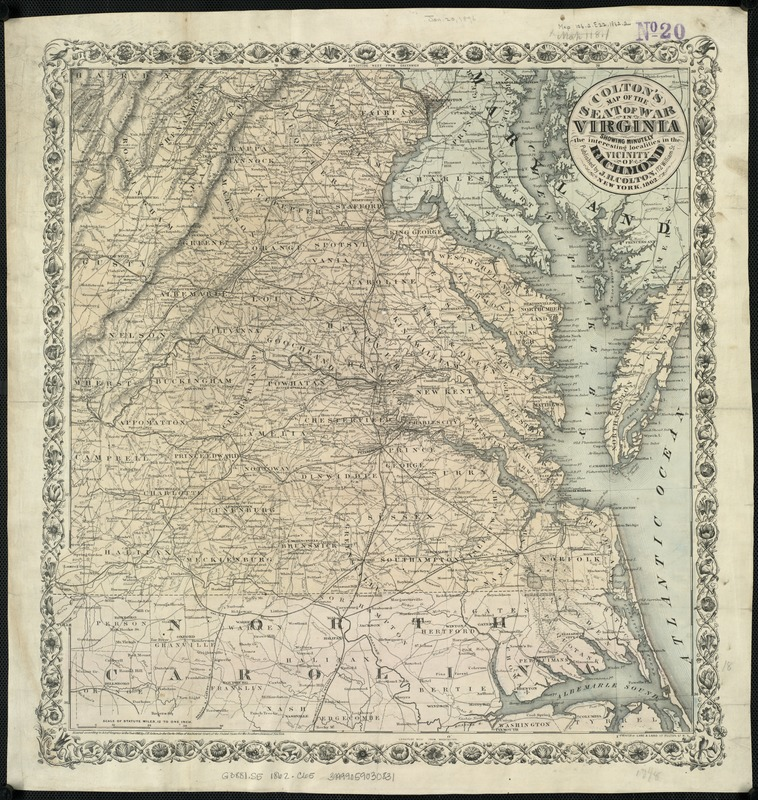 Colton's map of the seat of war in Virginia