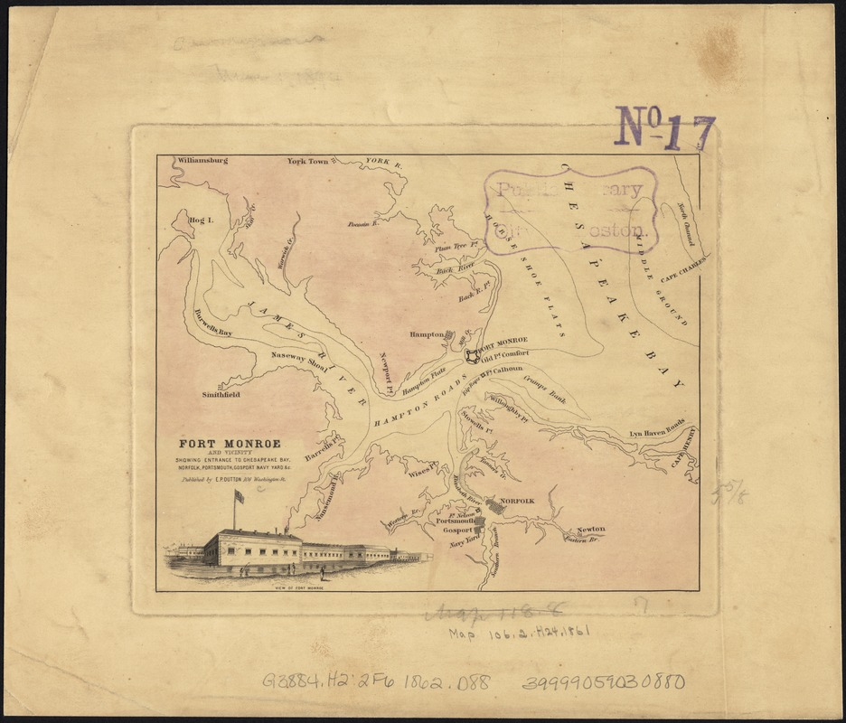 Fort Monroe and vicinity showing entrance to Chesapeake Bay, Norfolk, Portsmouth, Gosport Navy Yard &c