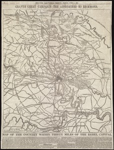 Map of the country within thirty miles of the rebel capital / G. Woolworth Colton, N.Y