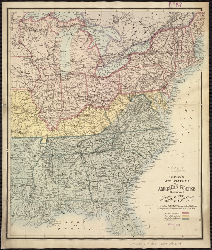 Bacon's steel plate map of the American states north & south