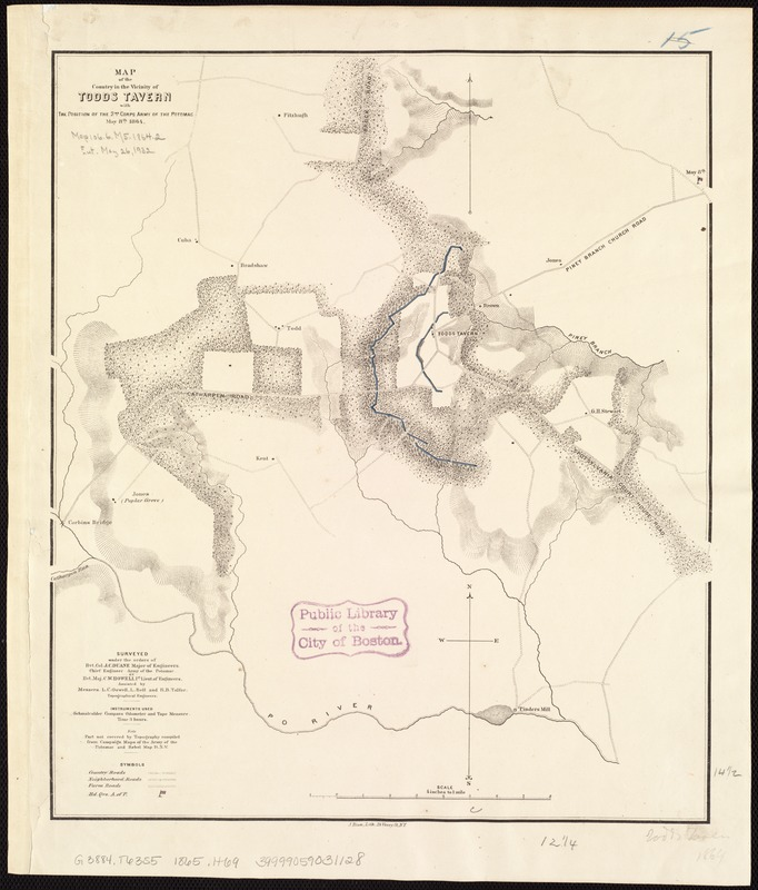 Map of the country in the vicinity of Todds Tavern, with the position of the 2nd Corps Army of the Potomac, May 8th, 1864