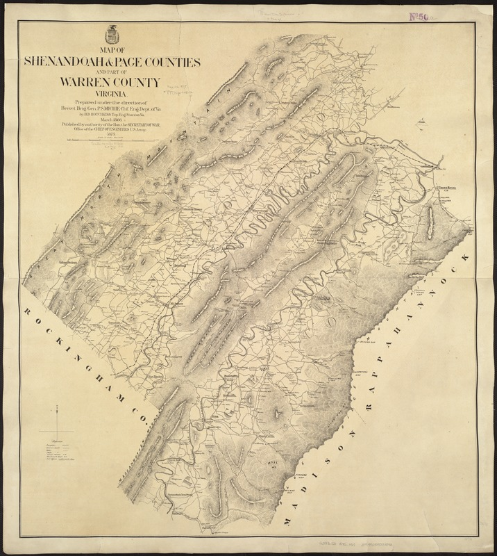 Map of Shenandoah & Page counties and part of Warren County, Virginia