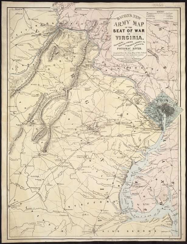 Bacon's new army map of the seat of war in Virginia, showing the battle fields, fortifications, etc., on & near the Potomac River