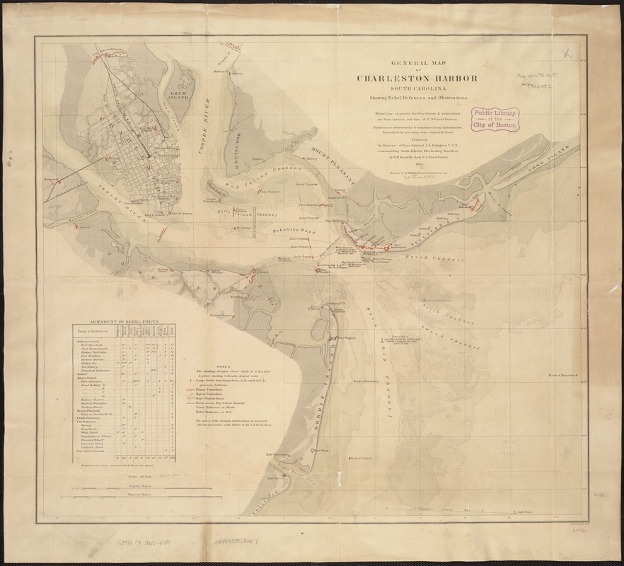 General map of Charleston Harbor South Carolina showing rebel defences and obstructions