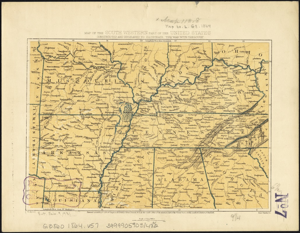Map of the south western part of the United States