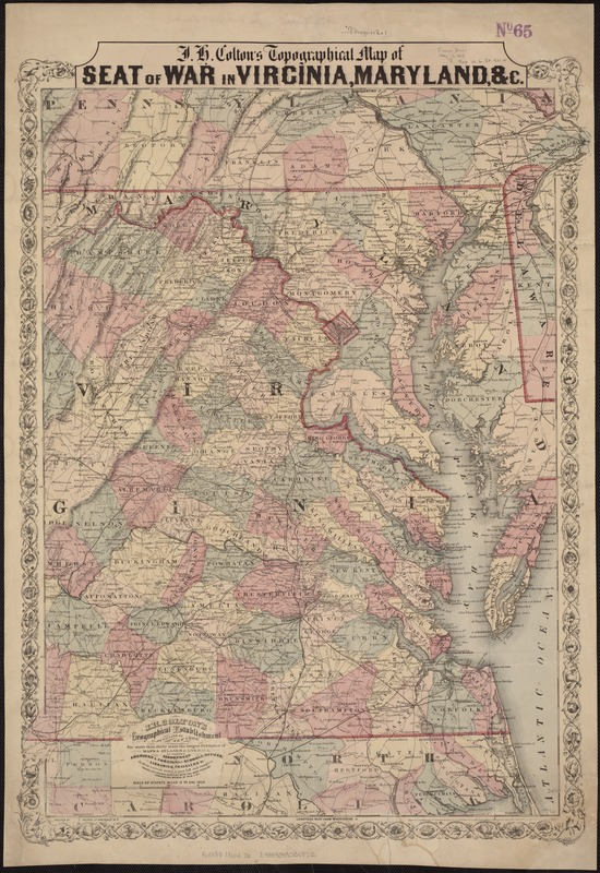 J.H. Colton's Topographical map of seat of war in Virginia, Maryland, &c