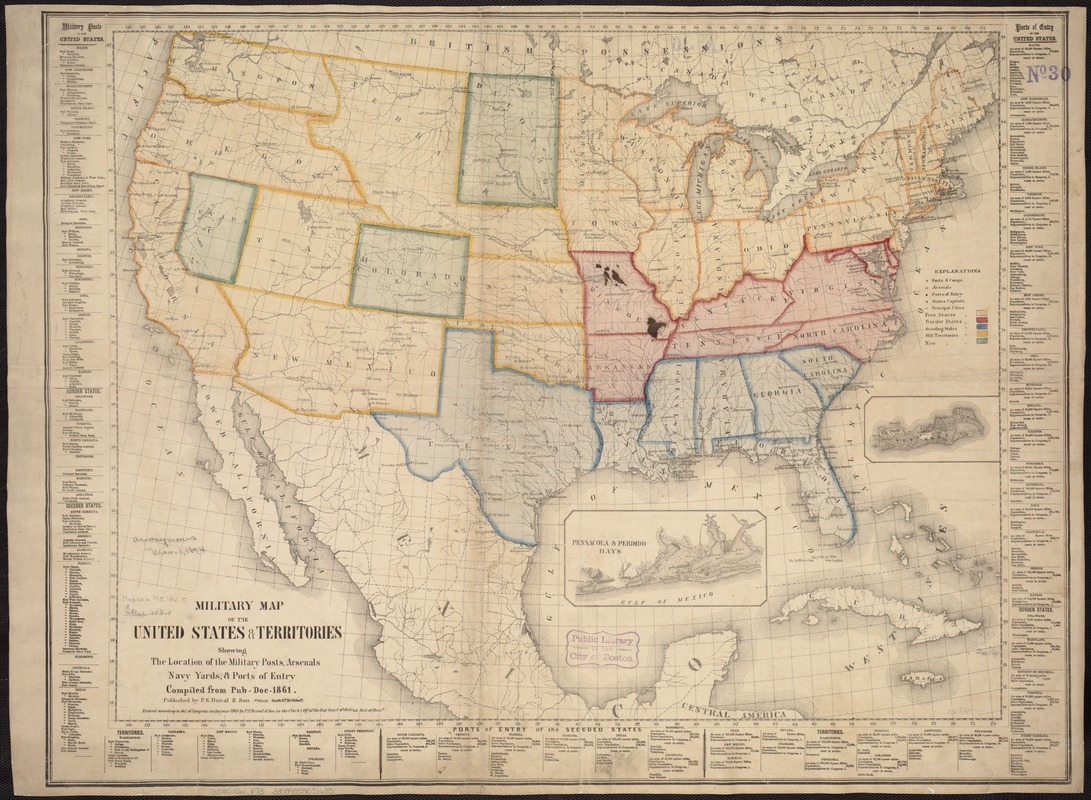 Military map of the United States & territories showing the location of the military posts, arsenals, Navy Yards, & ports of entry. Compiled from pub-doc--1861