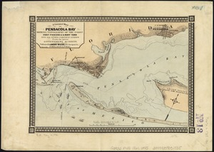 A correct map of Pensacola Bay showing topography of the coast, Fort Pickens, U.S. Navy Yard, and all other fortifications from the latest Government surveys