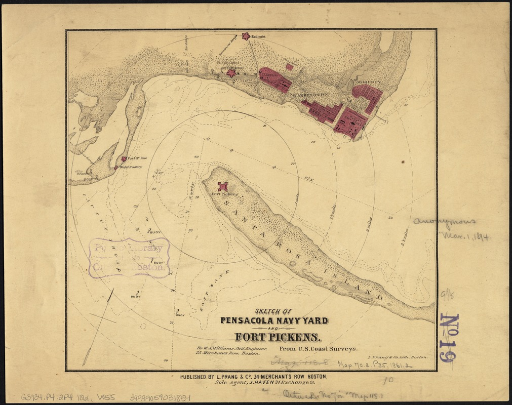 Sketch of Pensacola Navy Yard and Fort Pickens from U.S. coast surveys