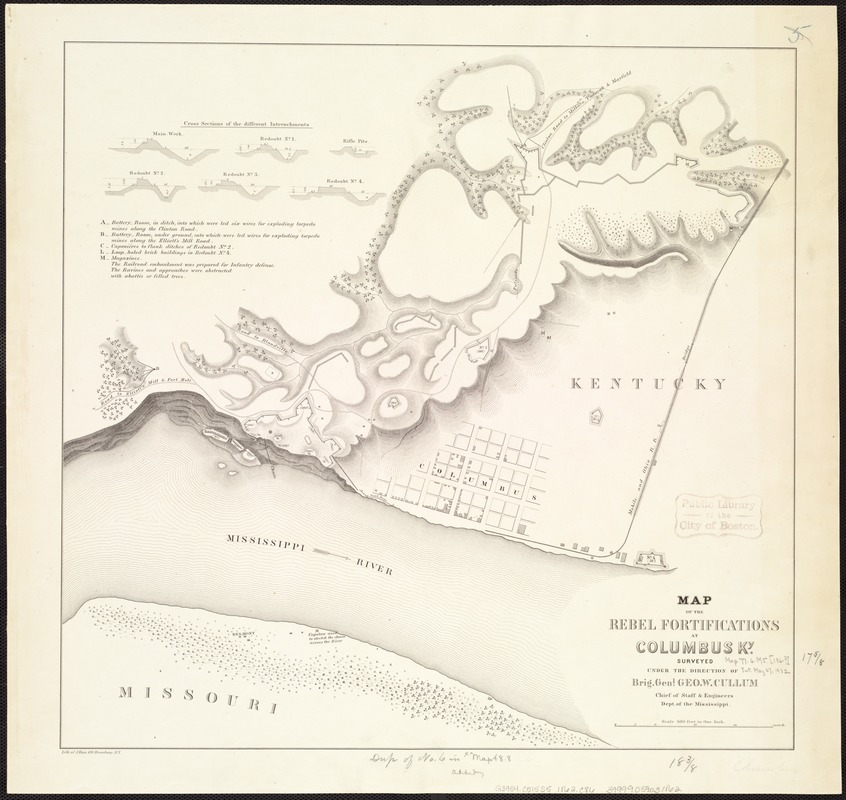 Map of the Rebel fortifications at Columbus, Ky