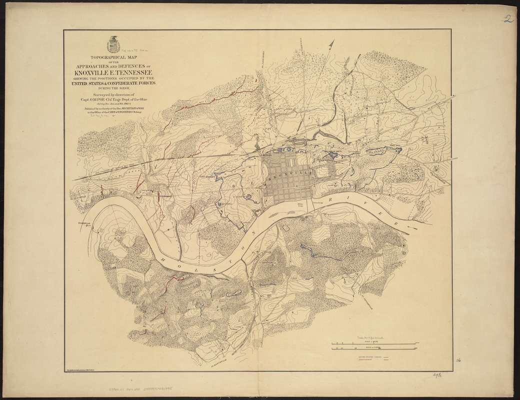Topographical map of the approaches and defences of Knoxville, E. Tennessee, shewing the positions occupied by the United States & Confederate forces during the siege