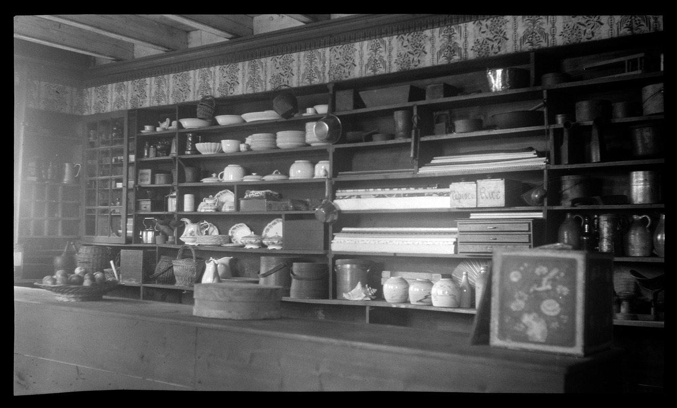 Joseph Holmes House, 232 Main Street, store interior recreated for Kingston Bicentennial: counter and shelves