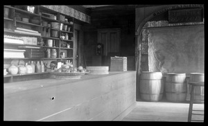 Joseph Holmes House, 232 Main Street, store interior recreated for Kingston Bicentennial: counter, shelves and barrels