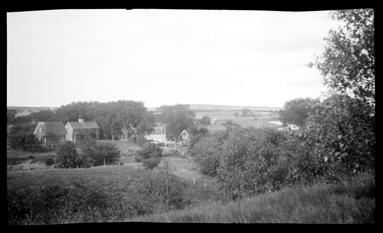 Major John Bradford House and barn, 50 Landing Road, and 49 Landing Road, view from Abram's Hill