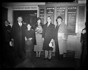 Gov. Curley shown with Francis Curley, Mr. and Mrs. Edward C. Donnelly, Edward Dolan, and Mayor Joseph Timilty