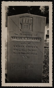 Sarah B. Loring gravestone, Old Burying Ground