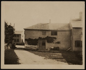 Cushman's Store, 196 Main Street, rear view, with 5 Summer Street in the background