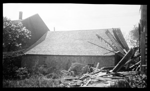 The 1714 Schoolhouse, 1 Summer Street, rear view, with debris from the demolition of the Foster-Drew-Glover house