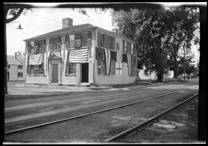 Joseph Holmes House, 232 Main Street, decorated with bunting and flags