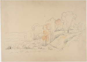 Landscape with hill, trees, and cows
