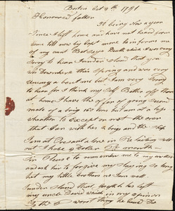 Isaac Hull to Joseph Hull, Boston, October 8, 1791