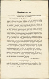Silas Talbot to Secretary Stoddert, May 12, 1800
