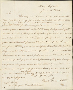 Paul Hamilton to Isaac Hull, Washington, D.C., June 18, 1812
