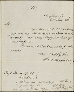 Paul Hamilton to Isaac Hull, Washington, D.C., July 29, 1812