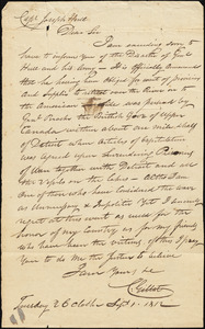 C. Gillet to Joseph Hull re William Hull's capitulation, September 1, 1812