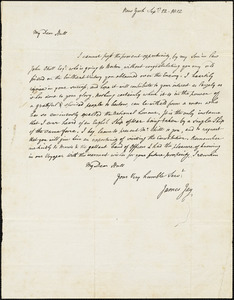 James Jay to Isaac Hull, New York, September 12, 1812