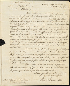 Paul Hamilton to Isaac Hull, Washington, D.C., October 10, 1812