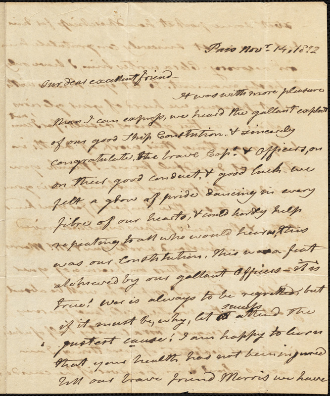 Mrs. Joel Barlow to Isaac Hull, Paris, November 14, 1812
