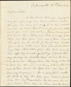 Isaac Hull to Mary Wheeler Hull, Portsmouth, June 20, 1813