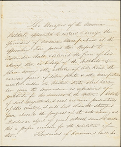 American Institute to Isaac Hull, October 16, 1835