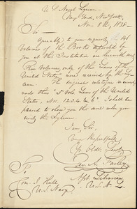 A. Stanley to Isaac Hull, New York, November 8, 1838