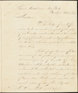 Officers of the Brooklyn Navy Yard to Ann McCurdy Hart Hull, February 16, 1843
