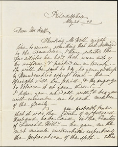 Ann McCurdy Hart Hull to Mary Wheeler Hull, Philadelphia, May 26, 1843