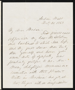 Franklin Pierce to Ann McCurdy Hart Hull, Andover, Ma., December 20, 1863