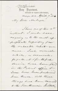 Joseph Smith to Ann McCurdy Hart Hull, Washington, April 7, 1866