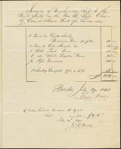 Hull, Isaac. Invoice of merchandise bought for his own use on USS Ohio, July 29, 1841