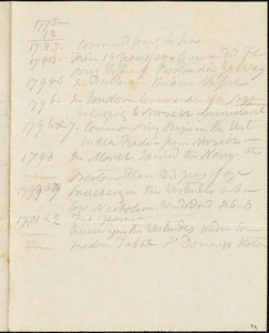 Hull, Isaac. Notes in his own handwriting, on his years of service