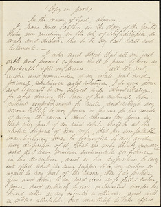 Hull, Isaac. Will (copy in part), Philadelphia, February 3, 1843