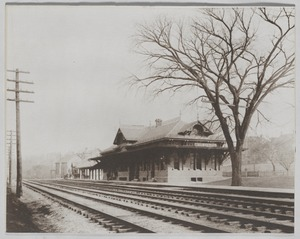Newton photographs oversize : misc. sepia toned & mounted - West Newton Railroad Station -