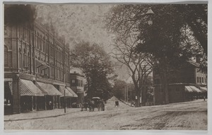 Newton photographs oversize : misc. sepia toned & mounted - West Newton Square -