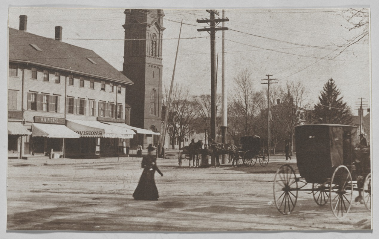 Newton photographs oversize : misc. sepia toned & mounted - Newtonville Square -